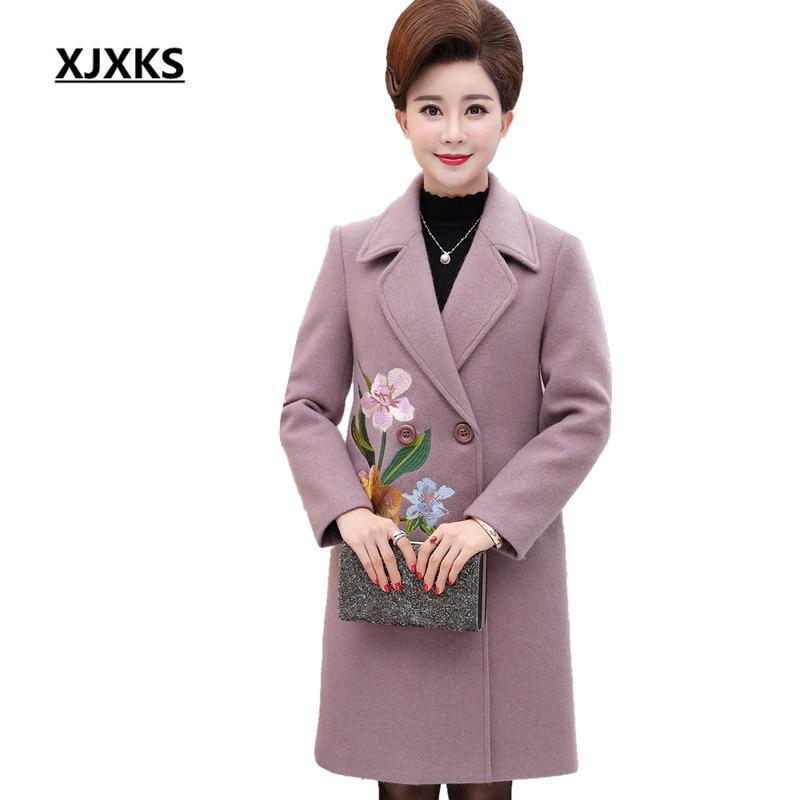 XJXKS manches longues automne et hiver 2018 femmes col rabattu manteaux de laine broderie fleurs doux mélanges manteau