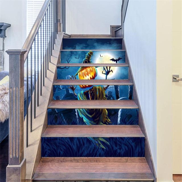 3D autocollants d\'escalier noël bonhomme de neige escaliers ...