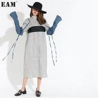 EAM 2017 New Summer Autumn Lapel Split Joint Removable Long Sleeve Hit Color Loose Dress