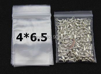 100pcs/lot 4*6.5cm Clear Resealable White Mini Zip Lock Plastic Bags Small Self Sealing Jewelry Food Packaging F1920 100pcs white self locking cable tie high quality nylon fasten zip wire wrap strap 2 5x100mm 2 5x150mm plastic