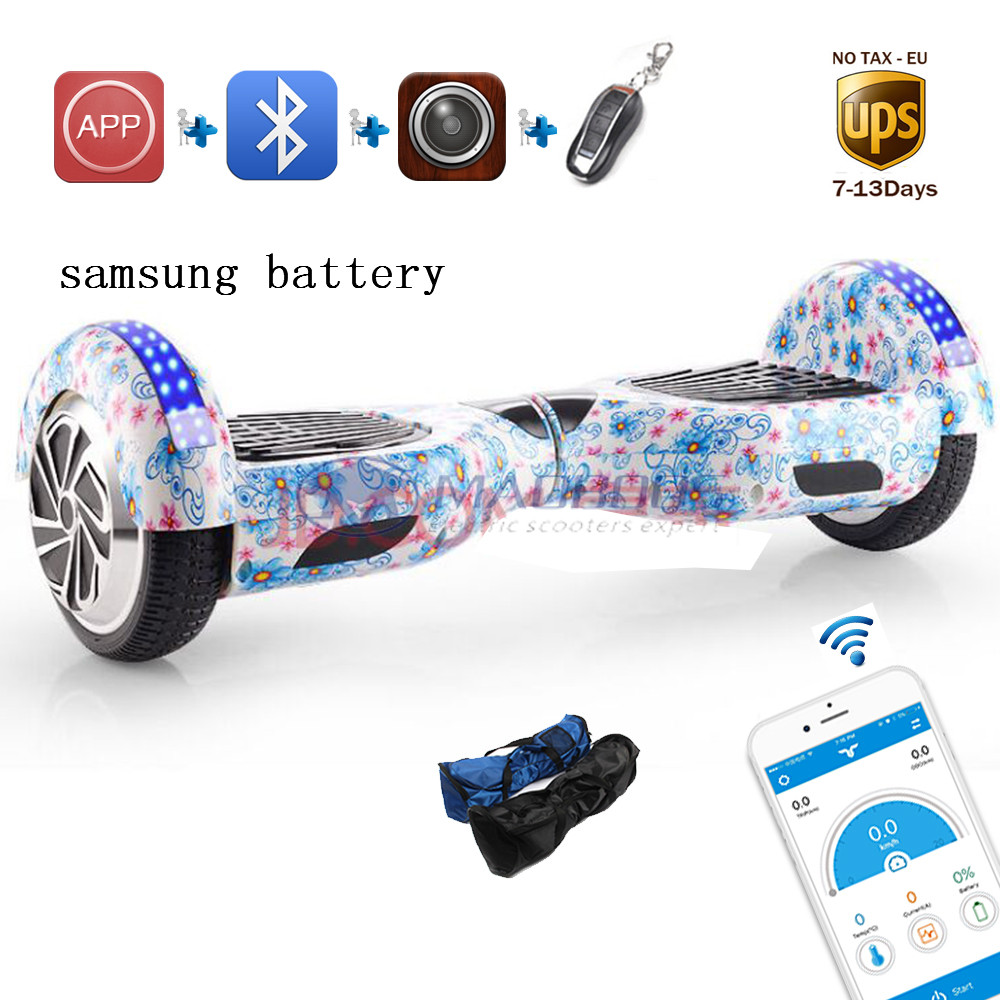 Led light 6.5 inch self balance electric hoverboard mini skywalker samsung battery APP standing drift scooter 2 wheel hoverboard  tax free hoverboard samsung battery smart self balancing electric scooter balance skateboard standing drift hoverboard