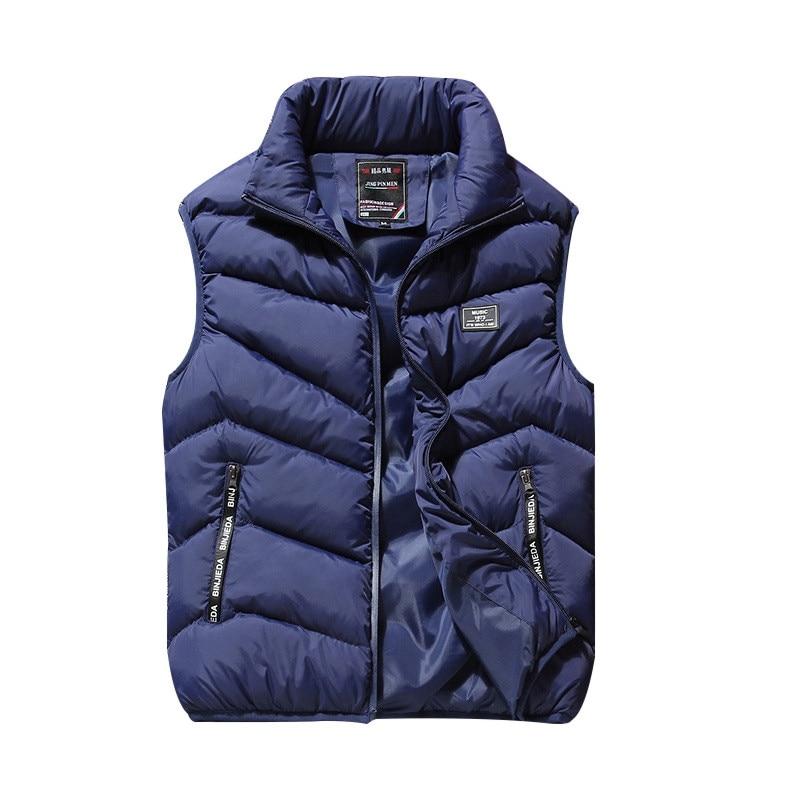 New Men Vest Jacket Sleeveless Men Winter Jacket Bodywarmer Thicken Warm Down Vest Men Waistcoat Casual Coats Male Plus Size