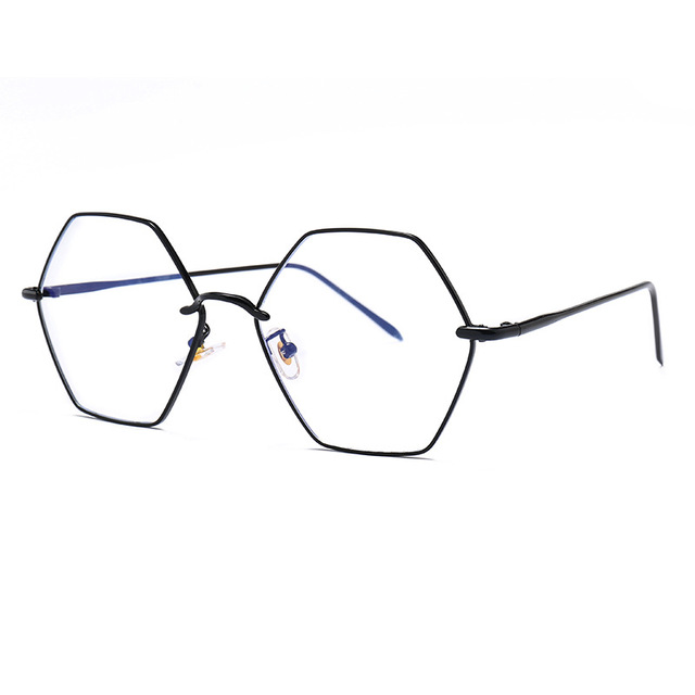 e418de8111 2019 Unisex Metal Hexagon Retro Large Frame Flat Light Blue Light Blocking  Glasses Computer Goggles with