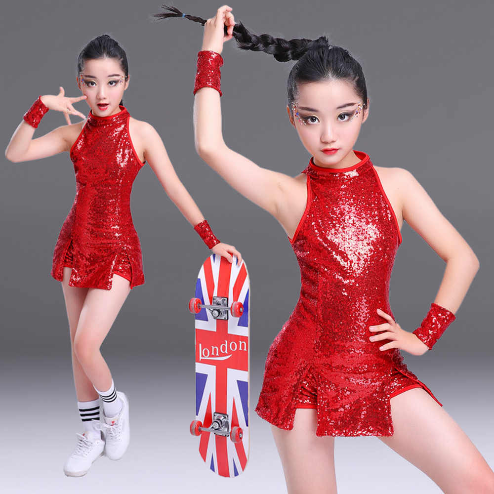 Red Children Party Dance Costumes Jazz Sequined hip hop Dance modern Kids Dancewear Competitions Performance Stagewear Outfits