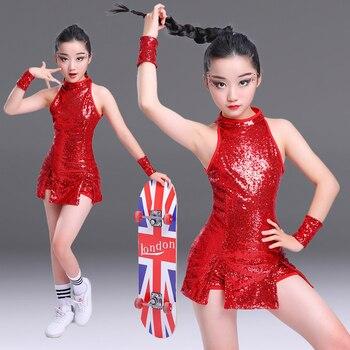 Red niños partido danza jazz lentejuelas hip-hop danza moderna dancewear  competiciones rendimiento stagewear trajes 7b475cb0b77