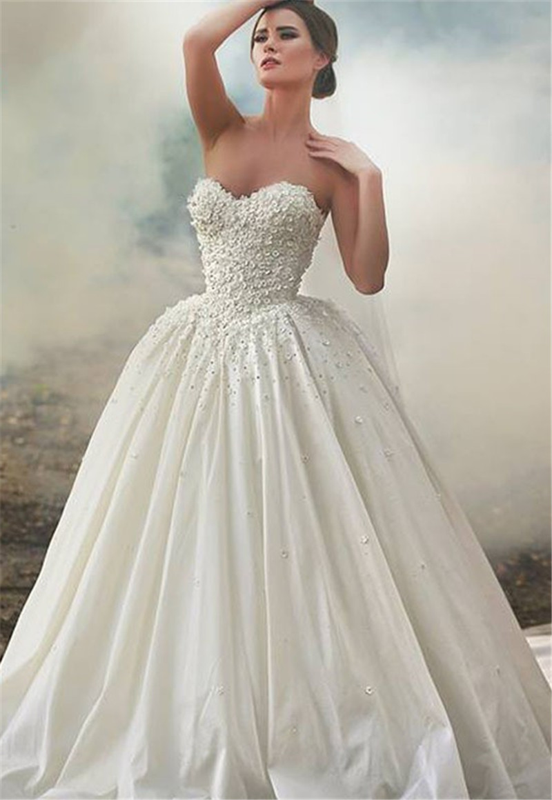 2017 Gorgeous Beaded Ball Gown Organza Wedding Dresses Strapless Low ...