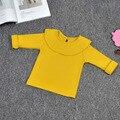Дети девушки оборками твердые рубашки блузки для девочек младенца хлопка младенческой подростка рубашки девочек одежда с длинным рукавом осень топы блузки