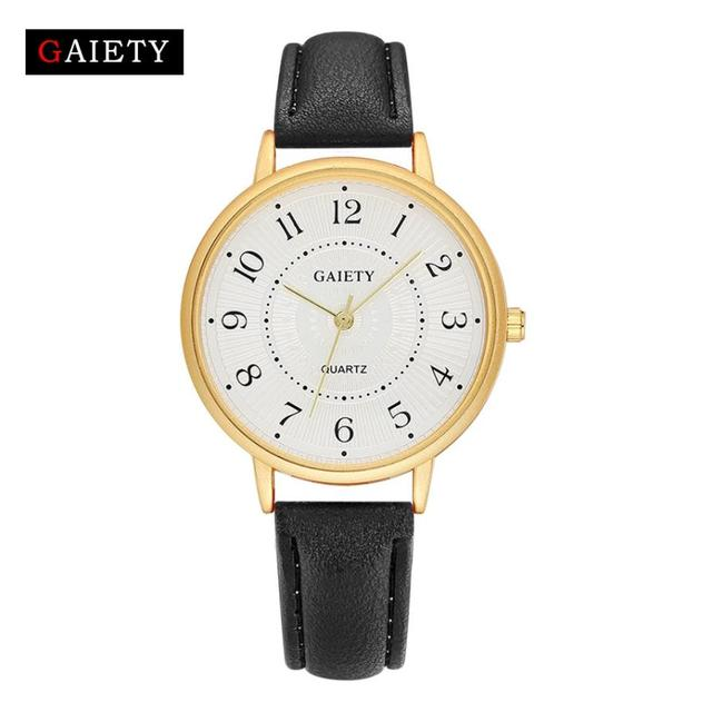 Fashion Simple Women's Watch Leather Band Analog Quartz Round Wrist Watch Watche