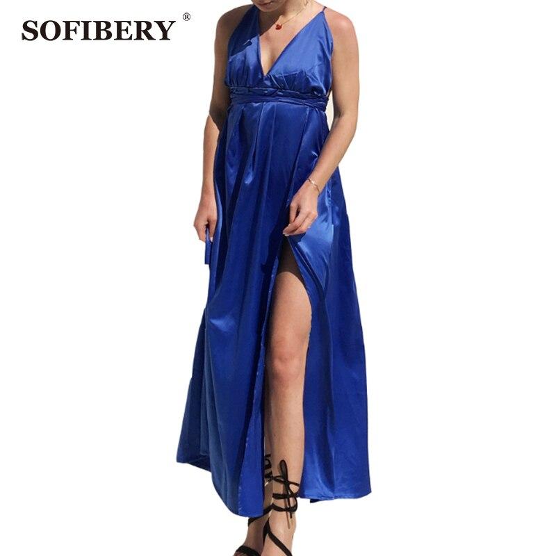 SOFIBERY Summer Womens beach holiday sexy beach dress casual dress deep V back Beach dress pure long dress MXH09