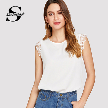 בז 'תחרת Trim Shell למעלה רגיל Sheinside כפתור חזרה OL עבודה חולצה ללא שרוולים צוואר עגול קיץ מקרית נשים חולצות