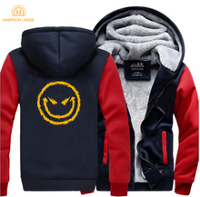HAMPSON LANQE Evils Smile Face Hip Hop Hooded Men 2019 Hot Winter Warm Fleece Sweatshirt Mens Thicken Fashion Hoodie Tracksuit