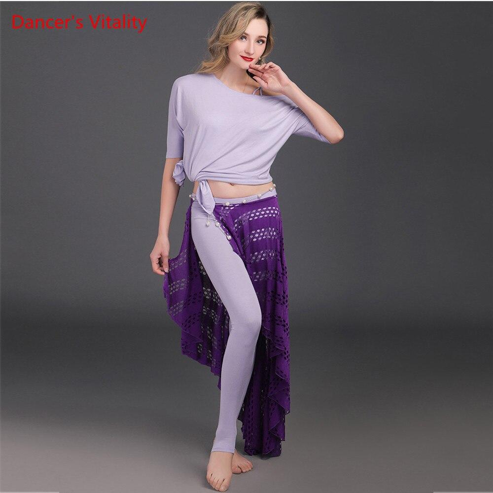 2018 Modal Belly Dance Costume Adults Practice Sleeve dance shirt Hollow performance long skirt