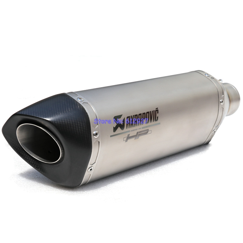 450mm Universal Customized Titanium Alloy Inlet 51mm 61mm 63mm 65mm Akrapovic Motorcycle Exhaust Pipe Muffler Escape Slip On