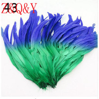 Z & Q & Y Natural 100 root 35 40CM (14 16 inches) Baolan plus green cock tail feathers DIY masquerade Feather decoration hat