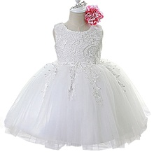 купить Summer Baby Girl Dress for Wedding Party White Cute Girls Dresses Infant Kids Clothes Sweet Little Baby 1 Year Dress дешево