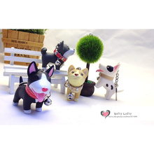 Free shipping 1pc Cute Dogs Mini PVC Figure pocket toy Akita Bull Terrier keychain car office decoration party supply kids gifts