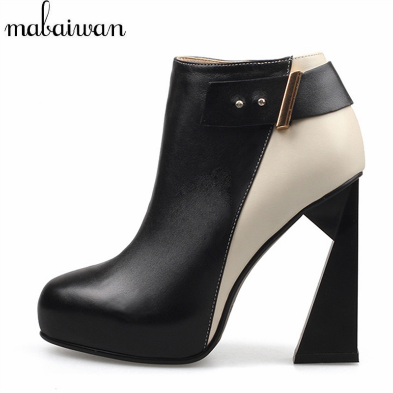 Mabaiwan Deaigner Strange Heel Women Ankle Boots Genuine Leather Botines Mujer High Heels Women Platform Pumps Short Botas strange heel women ankle boots genuine leather elastic booties wedge shoes woman high heels slip on women platform pumps