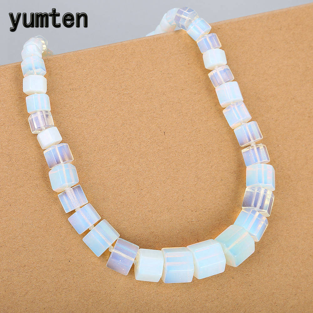 Yumten Opal Women Necklace Statement Men Clavicular Chain Choker Crystal Gemstone Healing Valentines Day Joyas Gift Wholesale custom red valentines day gift for men
