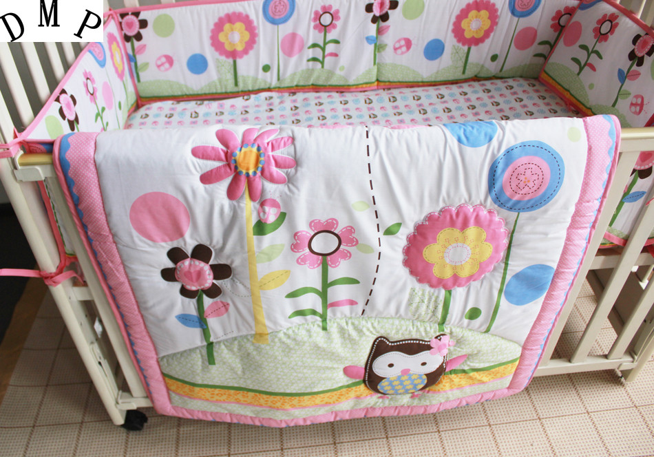Promotion! 7pcs Embroidery Baby Bedding Set Bed Linen For Cot and Crib Cradle ,include (bumpers+duvet+bed cover+bed skirt)
