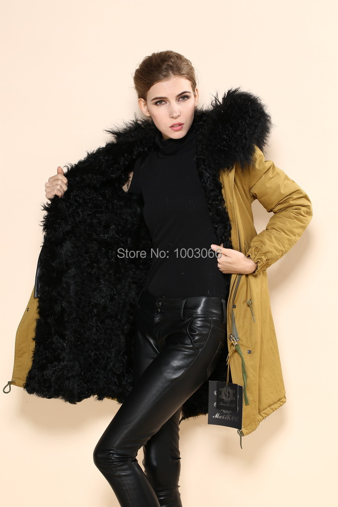 Ladies Casual Long Style Yellow Shell Black Inner Hooded Military Winter Parka