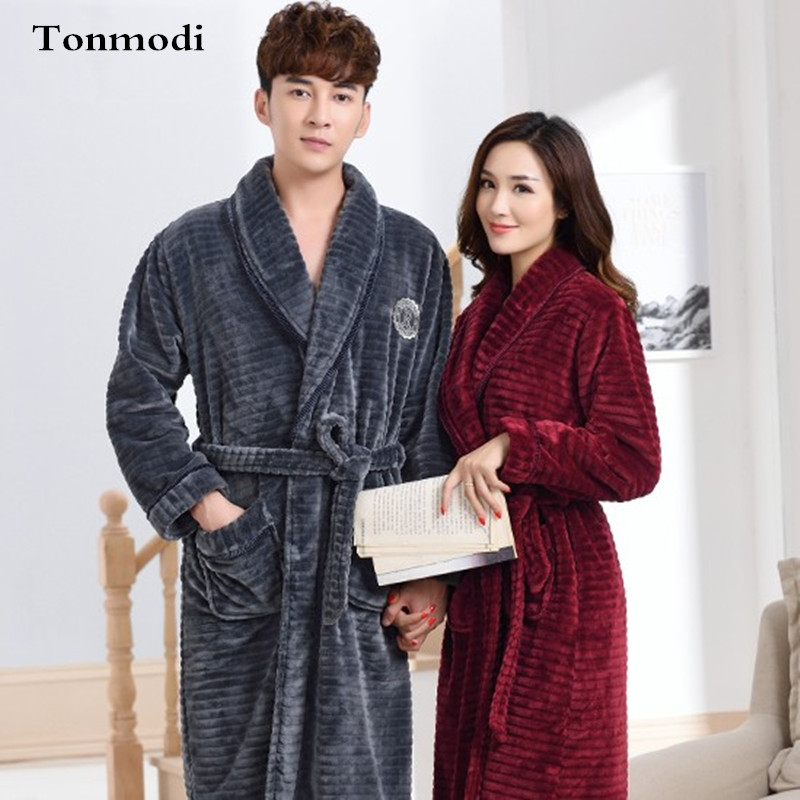 Female sleep nightshirt For Nightgown Lovers Men Sleepwear Flannel Robes Couple Lounge Winter Robes warm