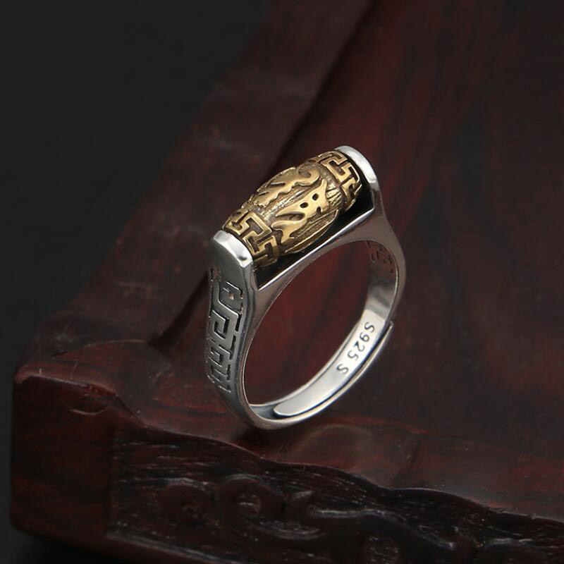 Image 4 - Handmade 925 Silver Tibetan Six Words Proverb Ring Turning Ring Good Luck Ring Resizable-in Rings from Jewelry & Accessories