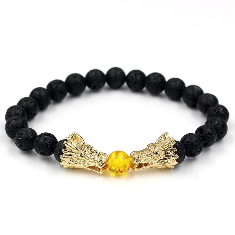 Natural Black Lava & White Howlite Stone Beads Bracelet Pulseira Masculina Mens Jewelry Buddha Dragon Bead Bracelet For Women 3