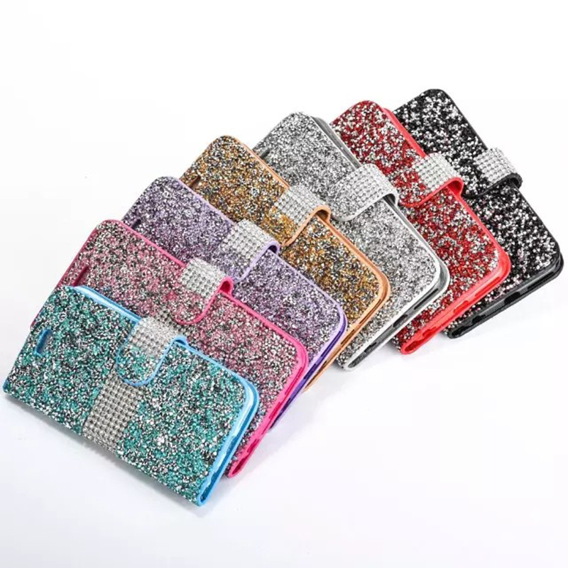 S7 S7 Edge S6 Edge Plus Cases Fashion Women Crystal Diamond Flip Leather Phone Cover For