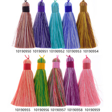 8cm Rayon Tassel with Cap silk tassel Multi color theme tassels for Earrings necklace Keychain,Sold 2pcs/lot