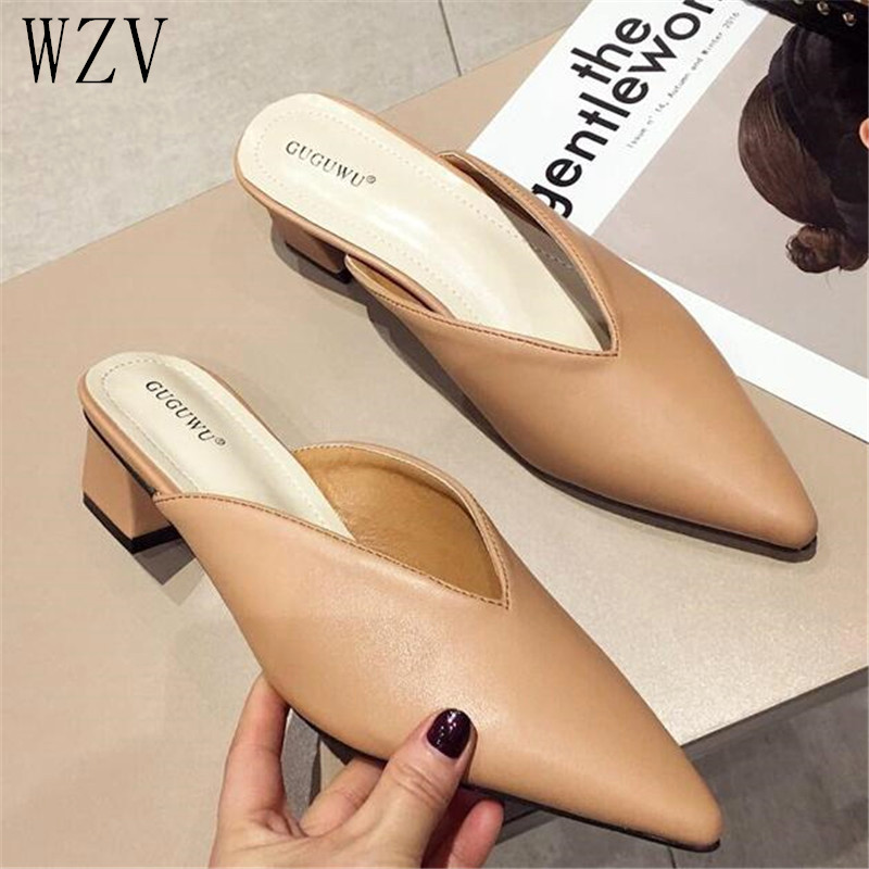 2019 Summer Fashion Women Pointed Toe Slipper Square Low Heels Outsides Ladies Slides Luxury Brand Beach Mules Shoes Nude White