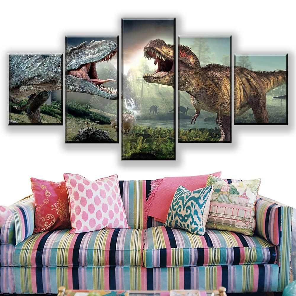 ผ้าใบพิมพ์โปสเตอร์ภาพยนตร์ 5 ชิ้น Jurassic World 2 ไดโนเสาร์รูปภาพ Modern Wall Art ภาพวาดตกแต่งบ้าน Modular Framework