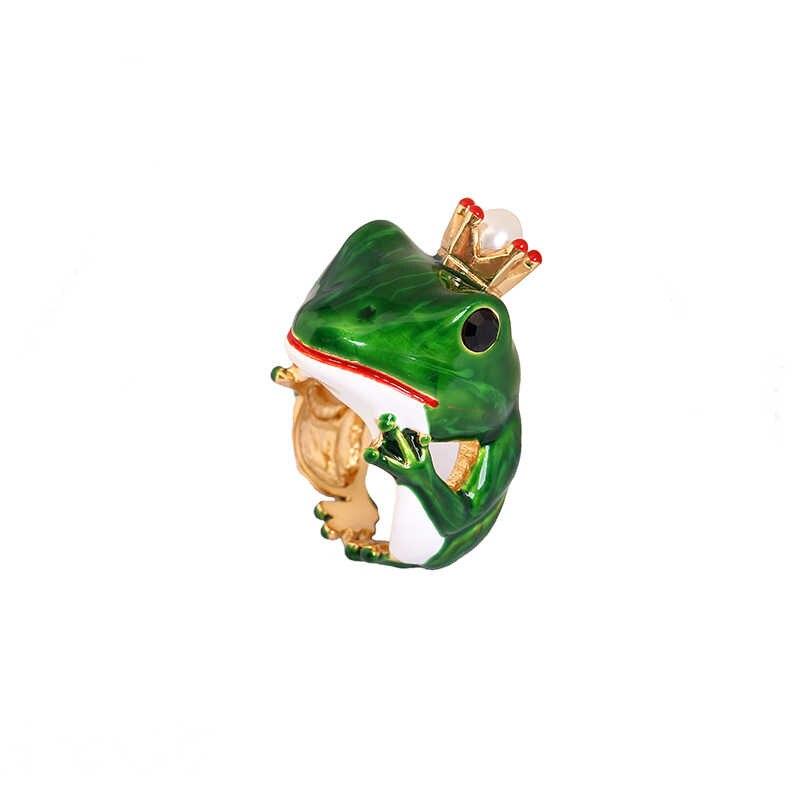 Juicy องุ่นสไตล์ใหม่ Gilded กบเปิดแหวน Noble สัตว์เครื่องประดับเคลือบเคลือบแหวนปรับแหวน