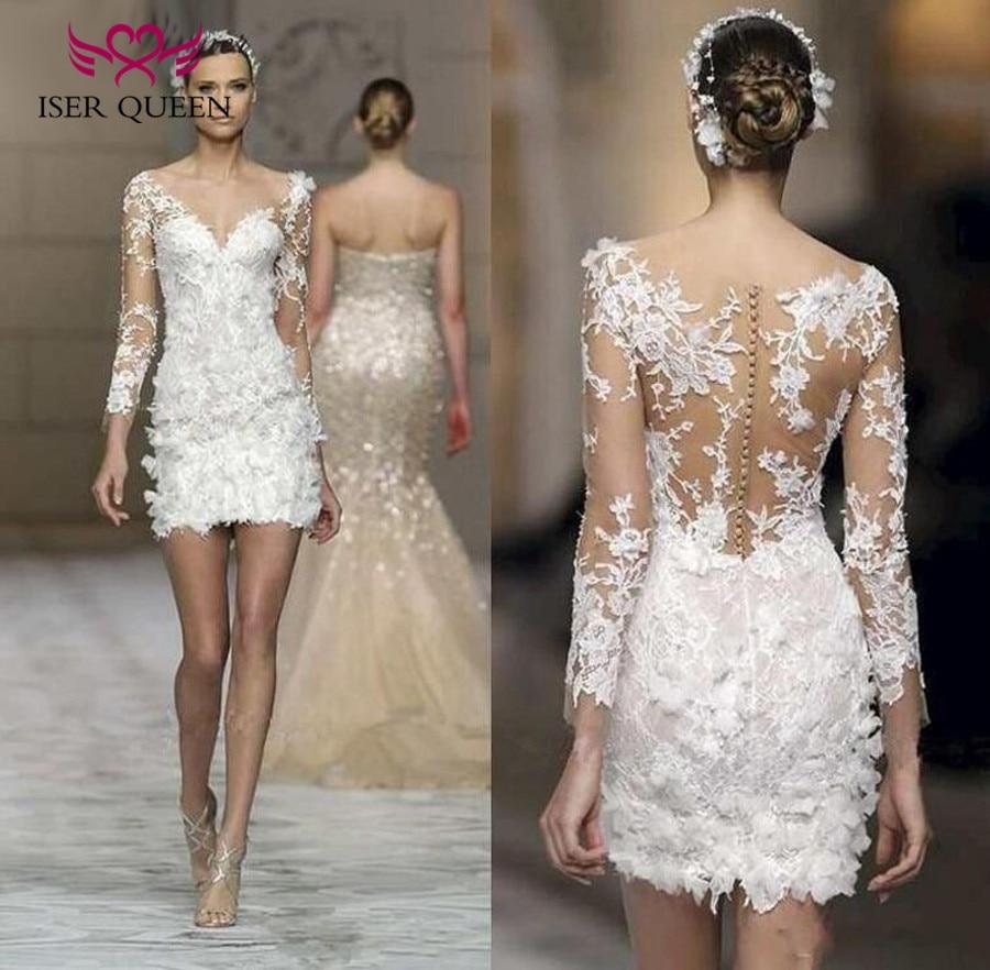 Long Sleeve Flower Appliques Illusion Back European New Arrival Fashion Short Wedding Dress Elegant Country Wedding Gown W0015