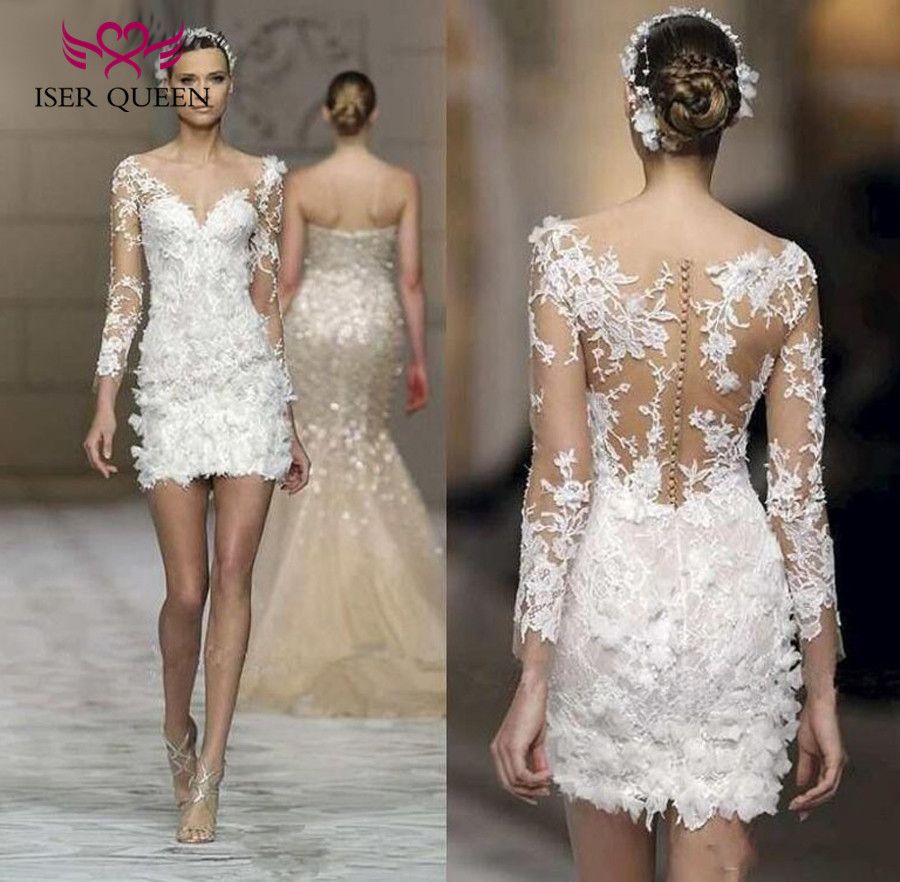 New Arrival Fashion Short Wedding Dress Long sleeve flower appliques Illusion back European Elegant Country Wedding Gown W0015