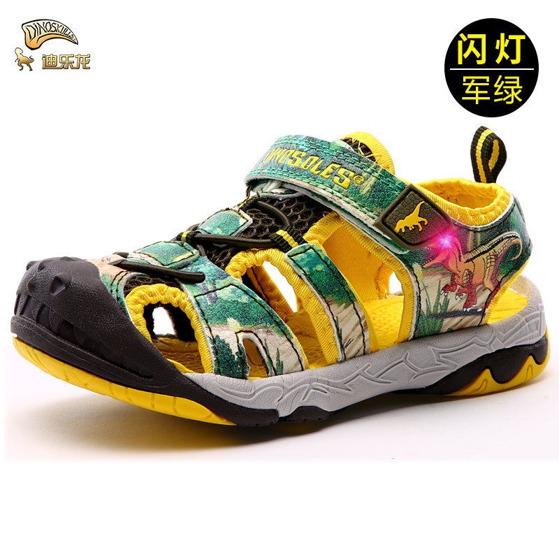DINOSKULLS Boy Sandals Kids Children Summer New Beach Led With Light Sandals Primary Student Sports Shoes For Boys Size 27-34DINOSKULLS Boy Sandals Kids Children Summer New Beach Led With Light Sandals Primary Student Sports Shoes For Boys Size 27-34