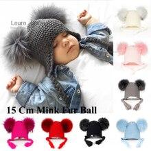 LAURASHOW yeni sonbahar kış bebek bere astar ile 16 CM gerçek kürk ponponlar sıcak uyku yün kap çocuk giyim aksesuarları şapka