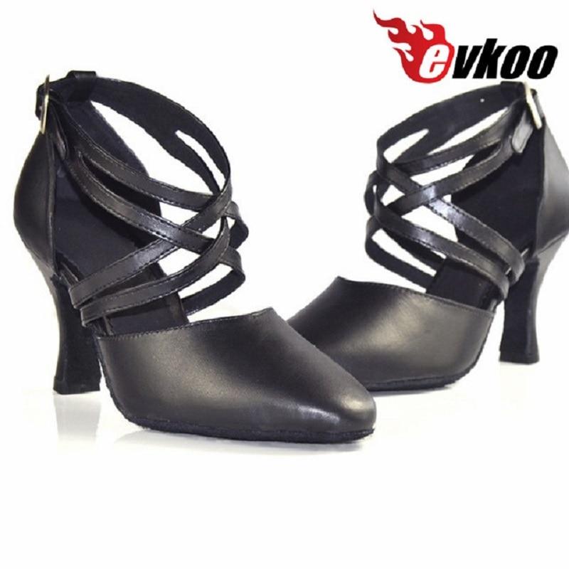 Evkoodance Fekete bőr egyetlen közepes sarkú 5 6 7 8cm zárt lábujj Standard ballon latin tánccipő nőknek Evkoo-106