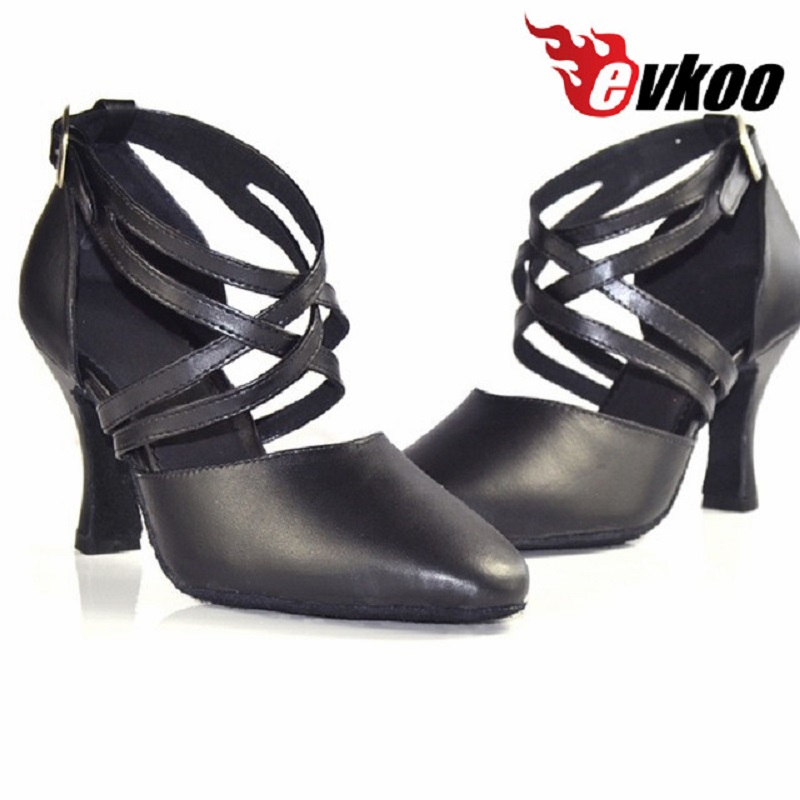 Evkoodance جلد أسود كعب المتوسطة 5 6 7 8 سنتيمتر مغلق تو ستاندرد قاعة الرقص اللاتينية أحذية للنساء Evkoo-106