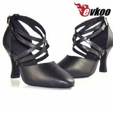 Evkoodance negro suela de cuero de tacón medio 5 5 5 6 6 7 8 cm cerrada del  dedo del pie estándar de Latina zapatos de baile par. e80a83a72b5c