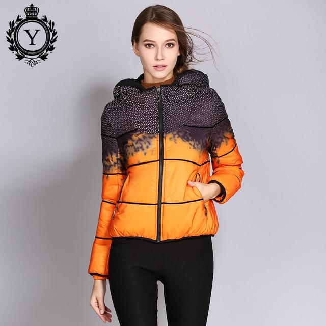 COUTUDI 2018 Autumn Jacket for Women Down Coat Female Short Printed Duck Down Parka Hood Light Warm Women's Quality Down Jackets