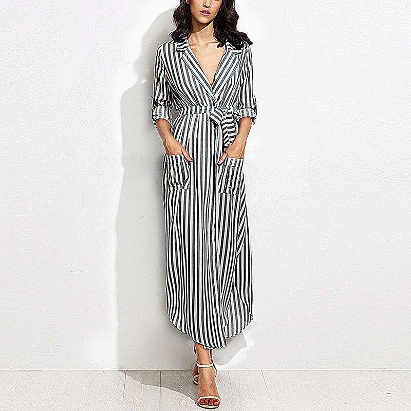 Casual Black White Striped Long Maxi Women Shirt Dress