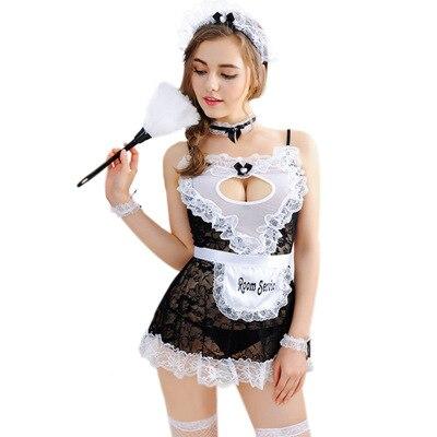 9905372af Sexy Womens Lace Lingerie Serva Trajes Da Empregada Doméstica Francesa  Serviço Uniforme de Empregada Roupa Garter Lingerie Erótica Sexo Jogo  Adulto em ...