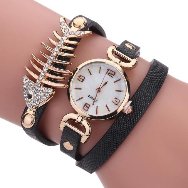 affa2f56daee5 MINHIN Luxury Women Crystal Wristwatches Fish Bone Leather Strap Bracelet  Ladies Casual Quartz Watch Fashion Relogio Feminino. Rated 5.0 5 ...