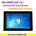 WS 10.1 pulgadas LCD HDMI (B) (con el caso) Pantalla Táctil IPS 1280x800 de alta resolución Soporta todos Raspberry PI y de Múltiples mini-PC