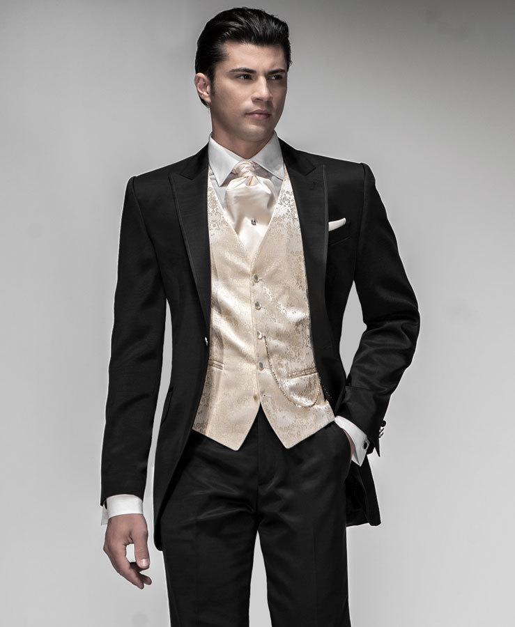 Custom Made 2018 high quality black groom wedding men suits party official groom suit (jacket + pants + vest)