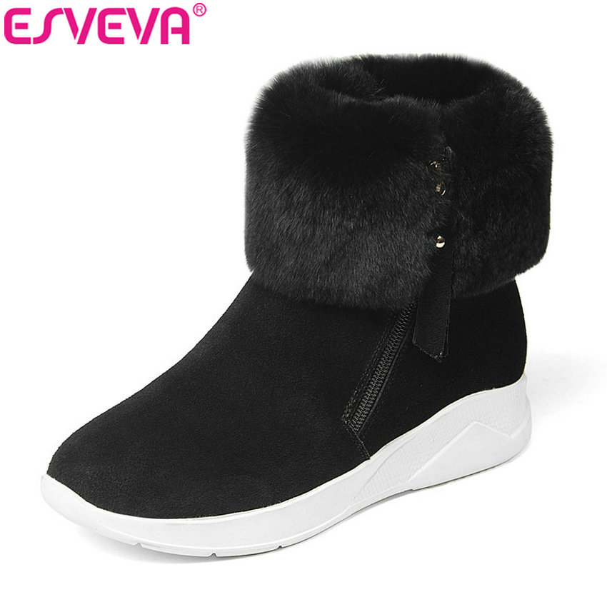 ESVEVA 2019 Women Boots Buckle Round Toe Square Heels Winter Shoes Cow Suede Ankle Boots Short Plush Woman Shoes Zip Size 34-39 esveva 2018 women boots high heels short plush buckle ankle boots square heels chunky pointed toe sexy fashion shoes size 34 39