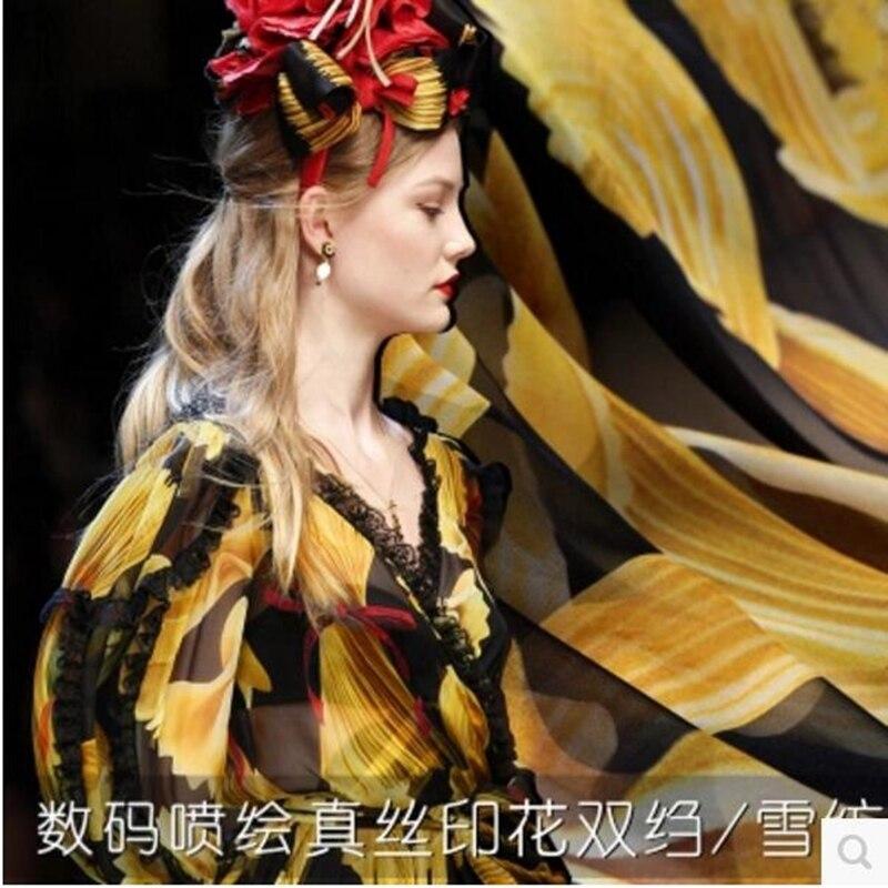 Bloem Kleur Digitale Inkjet Crêpe De Chine Zijde Kleding Stoffen Zijde Kleding Stoffen Jurk Materiaal Sjaal Doek 14 MM