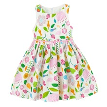Kid Dress For Girls Summer Cute Style Short Sleeve Floral Print Cotton Baby Girls Clothing Formal Party Dress   2-10T Years retro style short sleeve round collar loose floral print dress for women