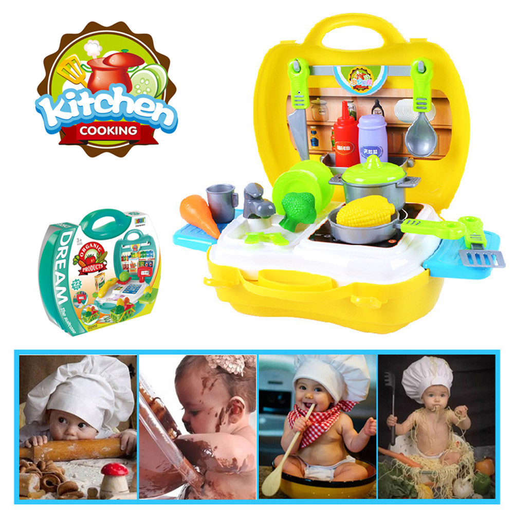 Kids Kitchen Cooking Pretend Role Play Toy Set Light Sound Effect Sylvanian Families Furniture Bolls Kid Boy Girl fun Toy Gift