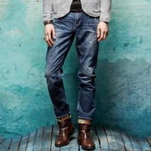Autumn winter mens straight jeans high quality male velvet thick warm stretch ink jeans men denim pants big size 28-38 Q599